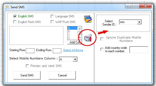 SMS Senderid from Excel Plugin